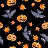 Halloween seamless pattern - pumpkin and bat. Cute naive watercolor. Halloween seamless pattern with halloween pumpkin and bat. Cute naive watercolor Royalty Free Stock Photography