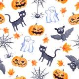 Halloween seamless pattern - pumpkin, bat, ghost, black cat. Watercolor. Halloween seamless pattern with halloween pumpkin, bat, ghost and black cat. Cute naive Stock Images