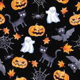 Halloween seamless pattern - pumpkin, bat, ghost, black cat. Watercolor Royalty Free Stock Photo