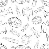 Halloween seamless pattern with pumpkin, bat, ghost, candy  Royalty Free Stock Image