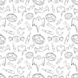 Halloween seamless pattern with pumpkin, bat, ghost, candy  Stock Image