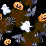 Halloween seamless pattern - pumpkin, bat, ghost, cat. Cute watercolor. Halloween seamless pattern - pumpkin, bat, ghost, black cat Cute watercolor Stock Photos