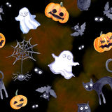 Halloween seamless pattern - pumpkin, bat, ghost, cat. Cute watercolor Royalty Free Stock Photography