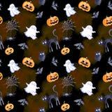 Halloween seamless pattern - pumpkin, bat, ghost, cat. Cute watercolor. Halloween seamless pattern - pumpkin, bat, ghost, black cat Cute watercolor Royalty Free Stock Image