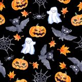 Halloween seamless pattern - pumpkin, bat, ghost, spider. Cute watercolor Royalty Free Stock Image