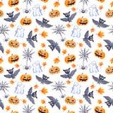 Halloween seamless pattern - pumpkin, bat, ghost, spider. Cute watercolor. Halloween seamless pattern with halloween pumpkin, bat, web and ghost. Cute naive Stock Photos
