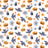 Halloween seamless pattern - pumpkin, bat, owl. Cute naive watercolor. Halloween seamless pattern with halloween pumpkin and bat. Cute naive watercolor Stock Photo