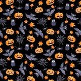 Halloween seamless pattern - pumpkin, bat, owl. Cute naive watercolor. Halloween seamless pattern with halloween pumpkin and bat. Cute naive watercolor Royalty Free Stock Photo