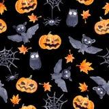 Halloween seamless pattern - pumpkin, bat, owl. Cute naive watercolor. Halloween seamless pattern with halloween pumpkin and bat. Cute naive watercolor Stock Images