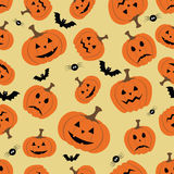 Halloween seamless pattern with pumpkin, bat and spider Royalty Free Stock Photo