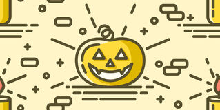 Halloween seamless pattern with pumpkin and candle. Vector background with linear objects. Royalty Free Stock Photography