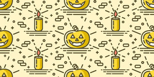 Halloween seamless pattern with pumpkin and candle Stock Photos