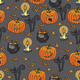 Halloween seamless pattern.Pumpkin,cat,candle, Royalty Free Stock Images
