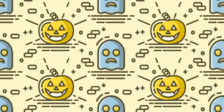 Halloween seamless pattern with pumpkin and ghost. Vector background Stock Photography