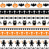 Halloween seamless pattern - pumpkin, ghost, voodoo doll Royalty Free Stock Photos