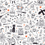 Halloween seamless pattern. Pumpkin, Ghosts, Cats Royalty Free Stock Photo