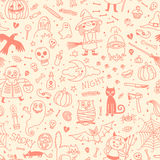 Halloween seamless pattern. Pumpkin, Ghosts, Cats Royalty Free Stock Image