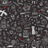 Halloween seamless pattern. Pumpkin, Ghosts, Cats Stock Images