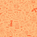 Halloween seamless pattern. Pumpkin, Ghosts, Cats Royalty Free Stock Photography