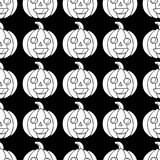 Halloween seamless pattern with pumpkin. Scary coloring page for royalty free illustration