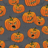 Halloween seamless pattern.Pumpkin,spider web,bat Stock Images