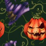 Halloween. Seamless pattern. Pumpkin with a terrible face. Scions and a witch hat. royalty free illustration
