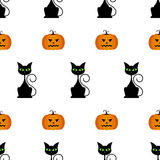 Halloween seamless pattern with pumpkins, black cat. Royalty Free Stock Images