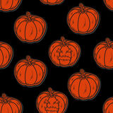 Halloween seamless pattern with pumpkins Stock Image
