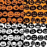 Halloween seamless pattern with pumpkins faces - different emoti Stock Photography