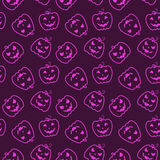 Halloween seamless pattern with pumpkins. Stock Photo