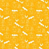 Halloween seamless pattern with pumpkins Stock Images