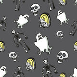 Halloween seamless pattern.Skeleton,Ghost, Stock Photography