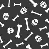Halloween seamless pattern skull and bone, flat design with clip Stock Image