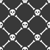 Halloween seamless pattern skull and bone, flat design with clip Stock Photography