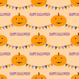Halloween seamless pattern with smiling pumpkins and pennants Stock Photo