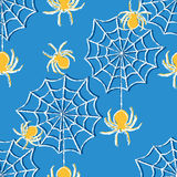 Halloween seamless pattern with spiders Stock Image
