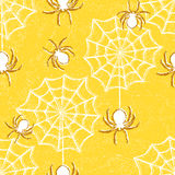 Halloween seamless pattern with spiders Stock Images