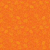 Halloween seamless pattern with spiders, witch cauldron, bat, ghost, pumpkin, leaves and bubbles on orange background Stock Photos