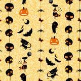 Halloween seamless pattern. Halloween themed seamless pattern with cute skulls, ghosts, cats, bats, pumpkins etc Stock Photos