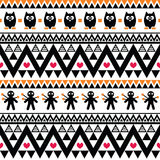 Halloween seamless pattern - tribal, Aztec print style Royalty Free Stock Photo
