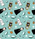 Halloween seamless pattern. Vector background with children in costumes. Illustration with vampire, ghost and skeleton Royalty Free Stock Images
