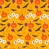 Halloween seamless pattern. Vector Halloween seamless pattern with pumpkin, ballon, stars, bat. Hand drawn pattern for Halloween design. Perfect for decoration Vector Illustration