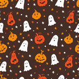 Halloween seamless pattern. Vector Halloween seamless pattern with pumpkin, ghost and stars. Hand drawn pattern for Halloween design. Perfect for decoration Vector Illustration