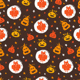 Halloween seamless pattern. Vector Halloween seamless pattern with pumpkins, stars and owls. Hand drawn pattern for Halloween design. Perfect for decoration Royalty Free Illustration