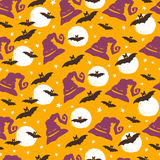 Halloween seamless pattern. Vector Halloween seamless pattern with scary hat, moon, stars and bats. Hand drawn pattern for Halloween design. Perfect for Stock Illustration