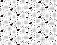 Halloween seamless pattern. On white background with  with  Web, Brooms and Spiders Royalty Free Stock Images