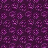 Halloween Seamless Pattern With Pumpkins. Stock Photo