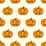 Halloween Seamless Pattern  Wrap Wallpaper With Terrible Pumpkins In A Cartoon Style. Vector illustration of Royalty Free Stock Photography