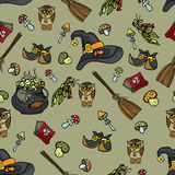 Halloween seamless pattern.Wtches set Stock Images