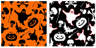 Halloween seamless patterns. Two halloween seamless patterns. Pumpkin, witches broom, skeleton, bat, skull and ghost. Vector backgrounds Royalty Free Stock Photo